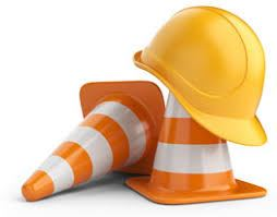 Image of Construction Cones with Hard Hat