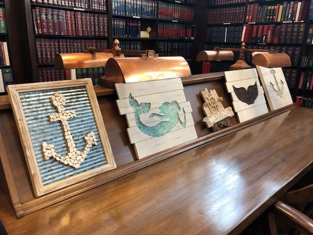 Photograph of nautical themed art, on display in the Fayette County Law Library, as part of the ""