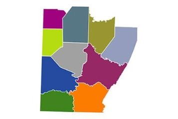 Colored map of 10-county region served by the Southwestern Pennsylvania Commission (SPC)