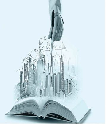 Picture of an open book with a hand descending from above, drawing three dimensional buildings in it