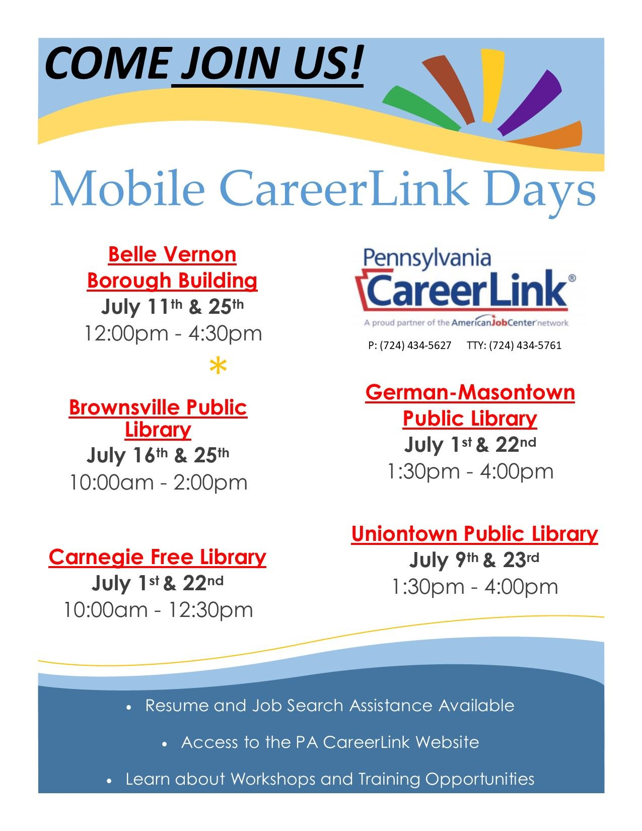 Flyer advertising Mobile CareerLink Days in Fayette County during the month of July 2019.