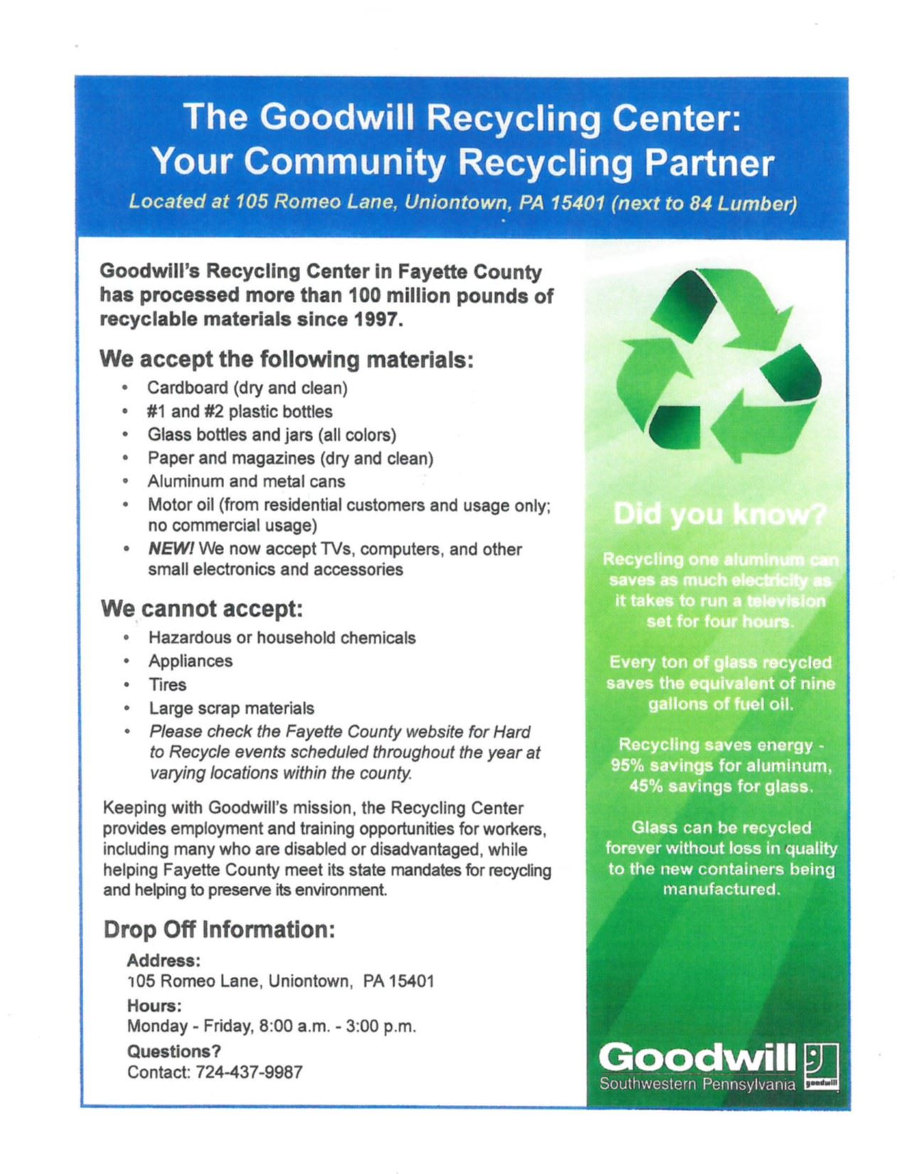 Flyer from Goodwill detailing what they will accept for recycling