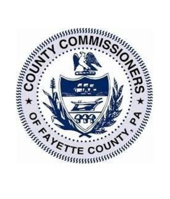 "Image of Fayette County, Pennsylvania Seal which reads ""County Commissioners of Fayette County, P"