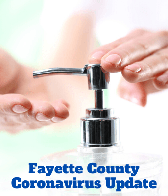 Fayette County Coronavirus Update, with photograph of an individual using hand sanitizer.