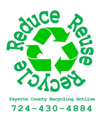 "Fayette County Recycling logo, which reads ""Reduce, Reuse, Recycle""."