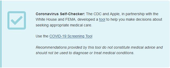 COVID-19 Screening Tool website