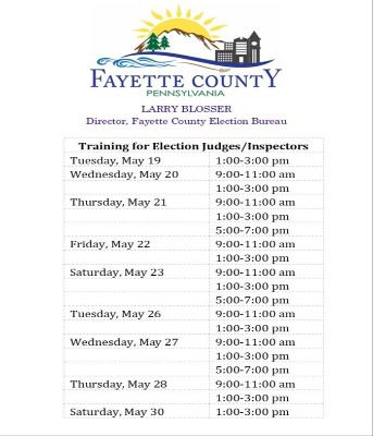 Election Bureau training schedule for Judges and Inspectors.