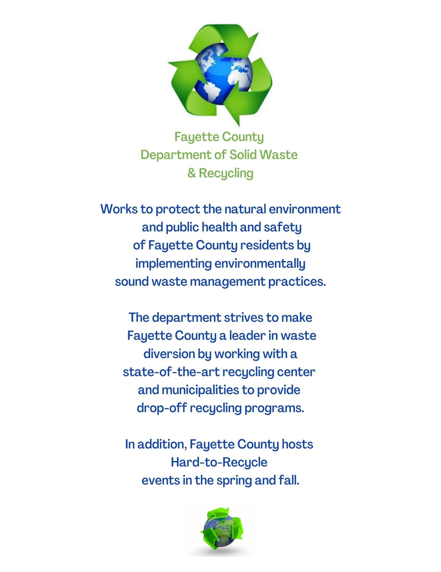 New Drop Off Recycling Program