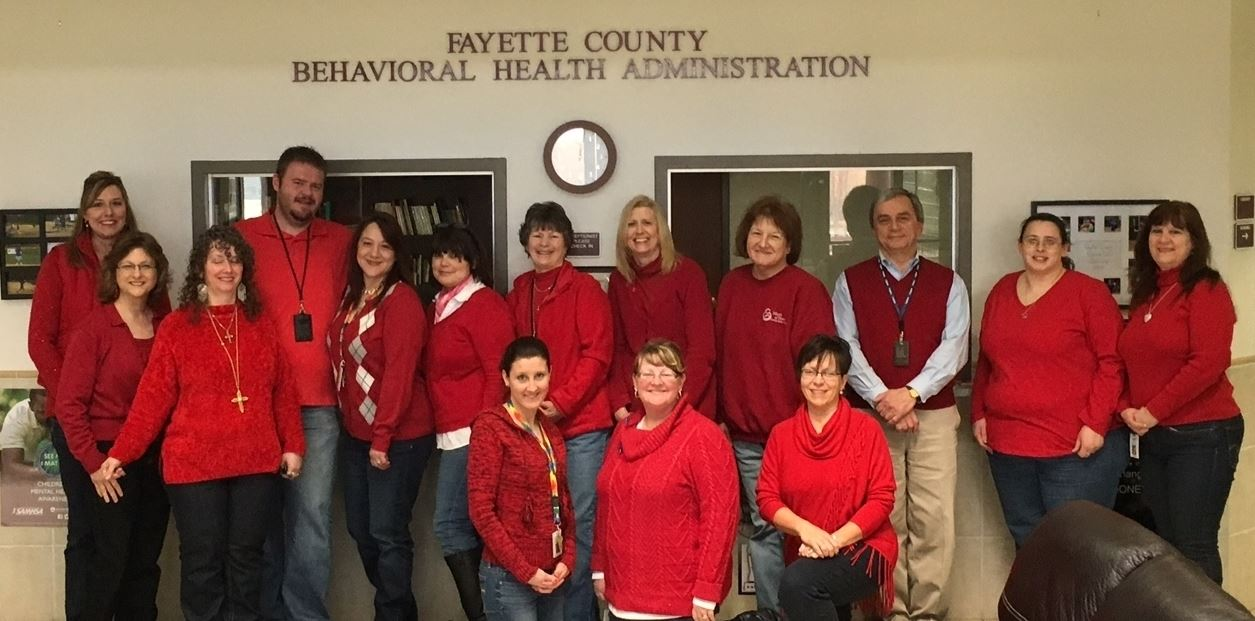 Behavioral Health Administration Staff in Red for Heart Awareness Month