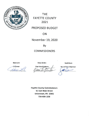 The Fayette County 2021 Proposed Budget on November 19, 2020 by Commissioners