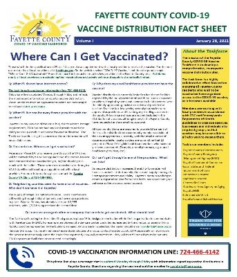 Image of Covid-19 Vaccine Distribution Fact Sheet from the Fayette County Covid-19 Vaccine Taskforce