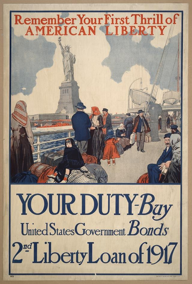 Remember Your First Thrill of American Liberty Poster Depicting People at Statue of Liberty