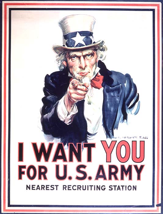 I Want You for the U.S. Army Poster Depicting Uncle Sam Pointing