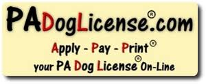 THIS IS A PICTURE OF THE PA DOG LICENSE WEBSITE IN WHICH IT STATES TO APPLY, PAY, AND PRINT ONLINE.
